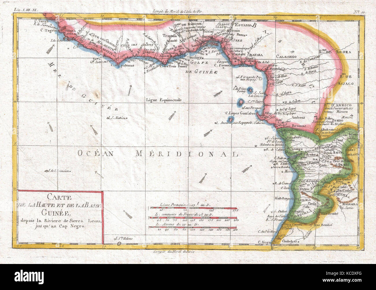 1780, Raynal and Bonne Map of Guinea, Rigobert Bonne 1727 – 1794 - Stock Image