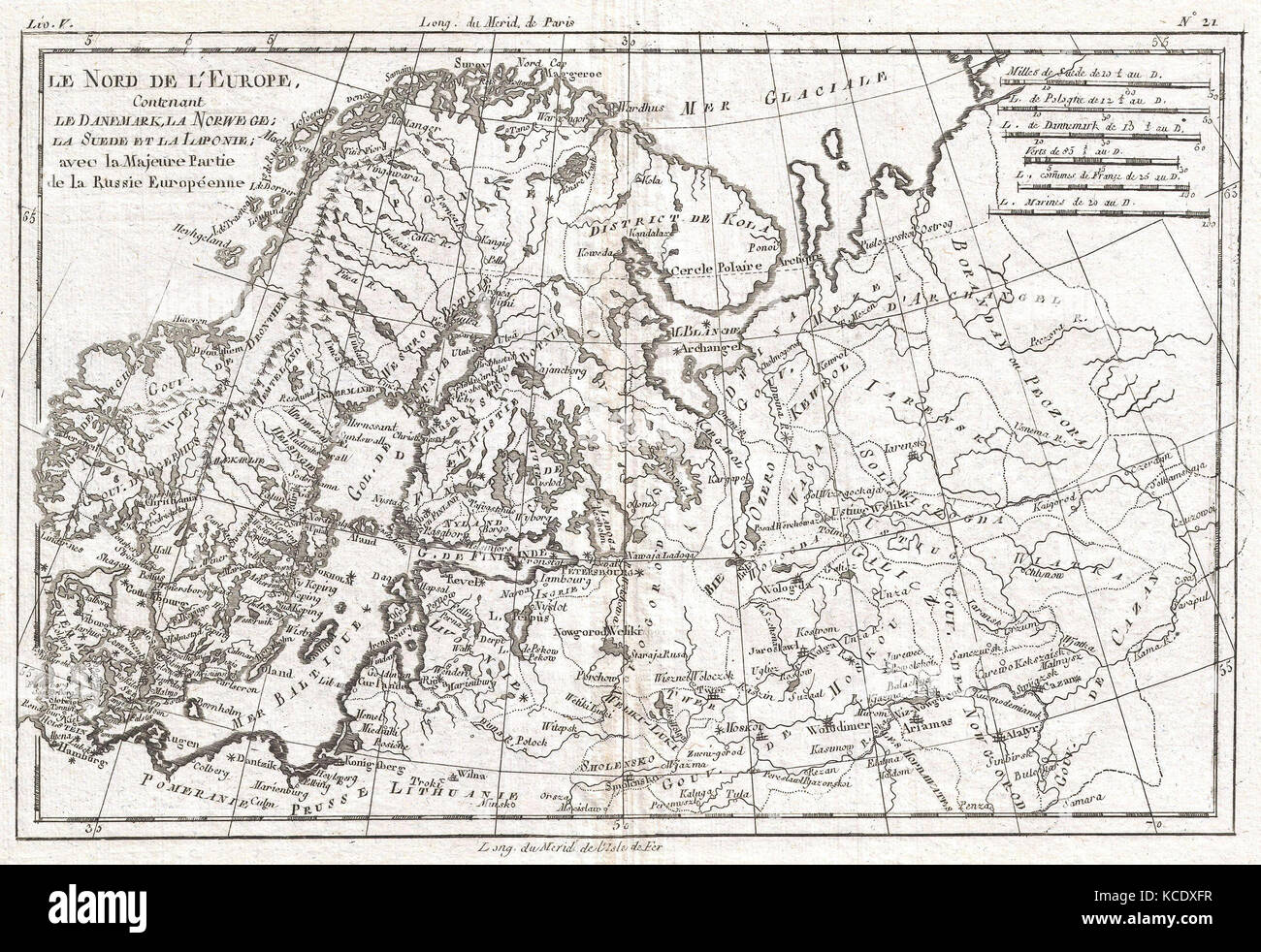 1780, Raynal and Bonne Map of Northern Europe and European Russia ...