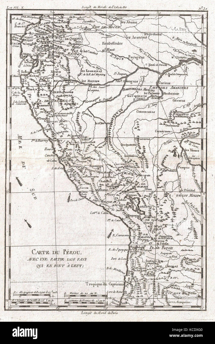 1780, Raynal and Bonne Map of Peru, Rigobert Bonne 1727 – 1794 - Stock Image