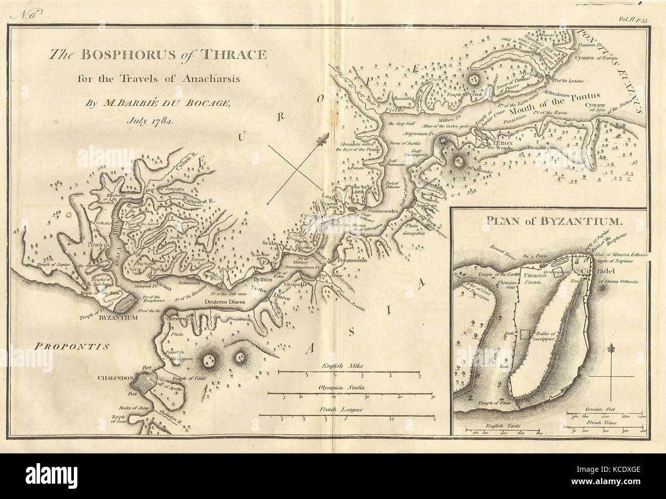 1784, Bocage Map of The Bosphorus and the City of Byzantium, Istanbul, Constantinople Stock Photo