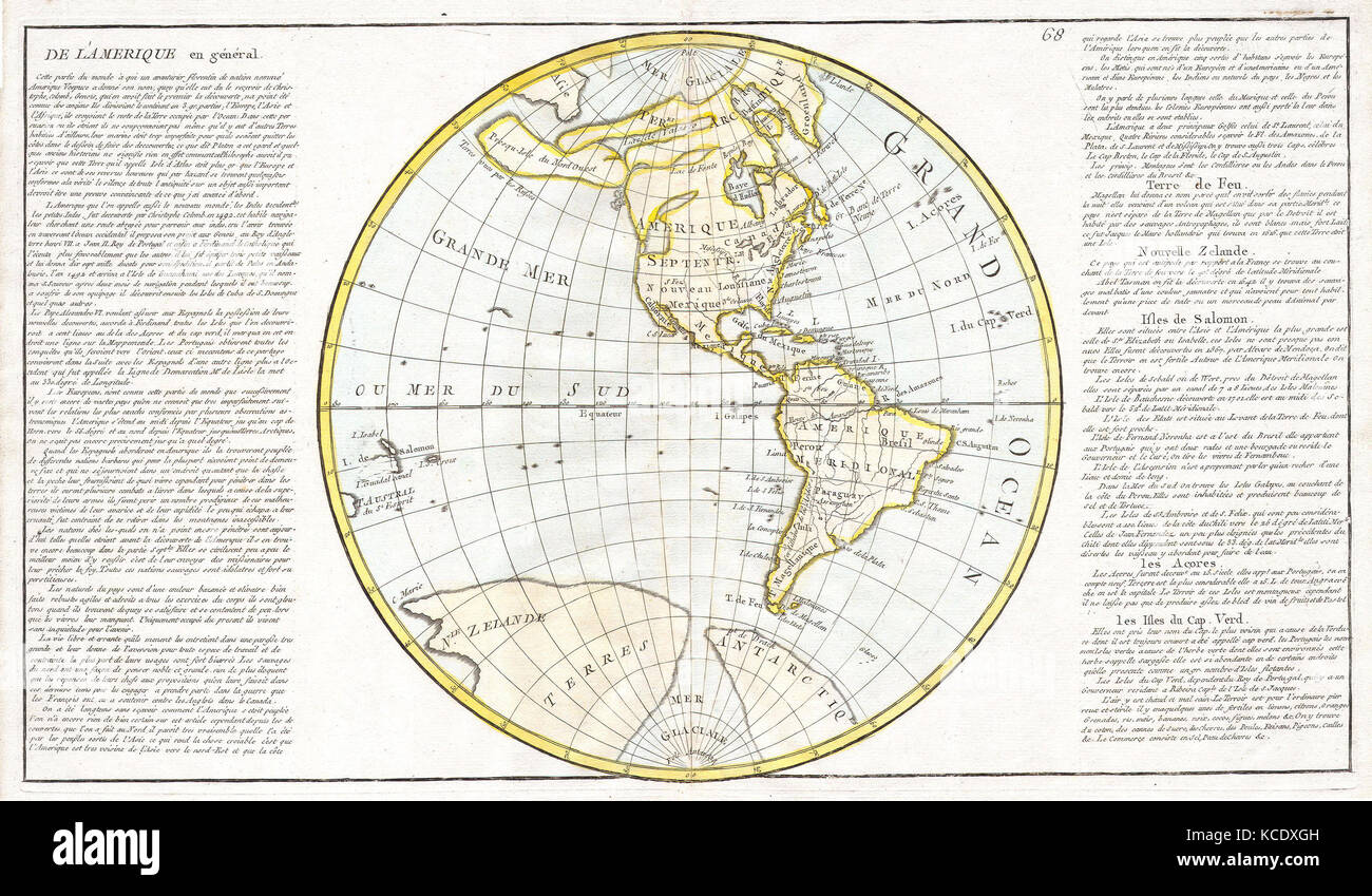 1785 Clouet Map of North America and South America Stock