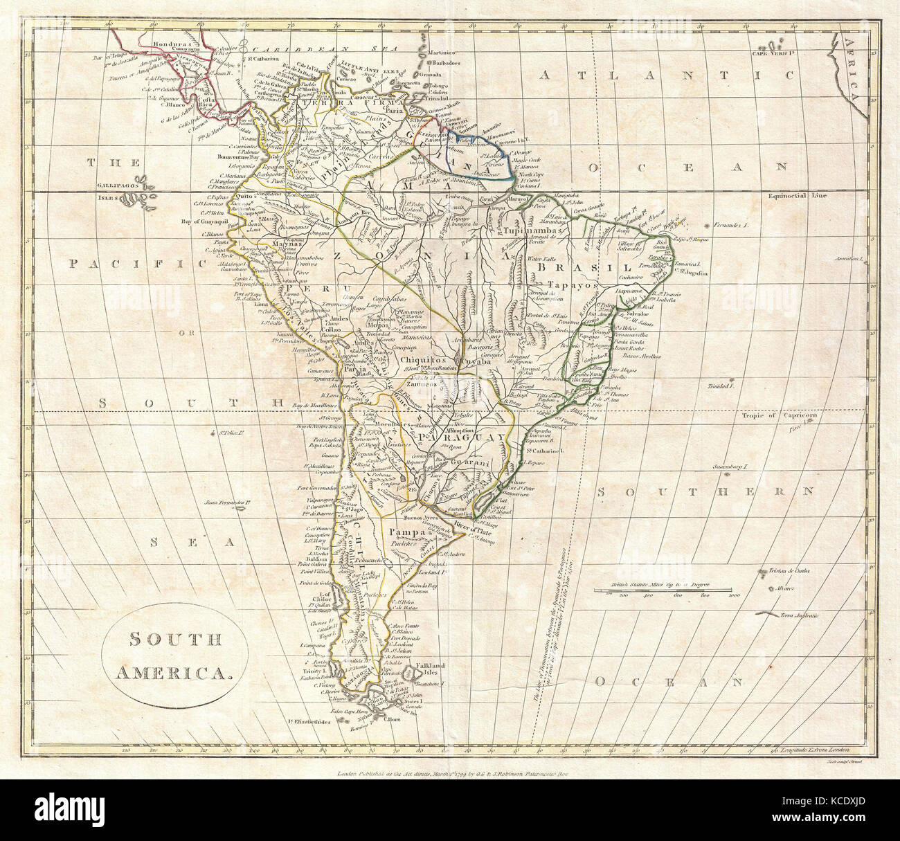 Map Of South America 2017.1799 Clement Cruttwell Map Of South America Stock Photo 162575461