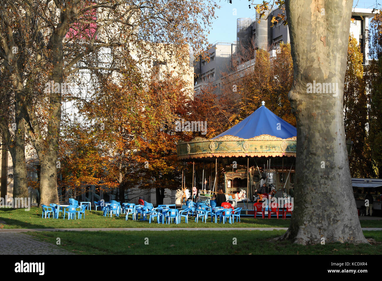 PARIS, FRANCE, NOVEMBER 27 - Merry-Go-Round in the park of Bercy, on November 27, 2013 in Paris, France. Parc de - Stock Image