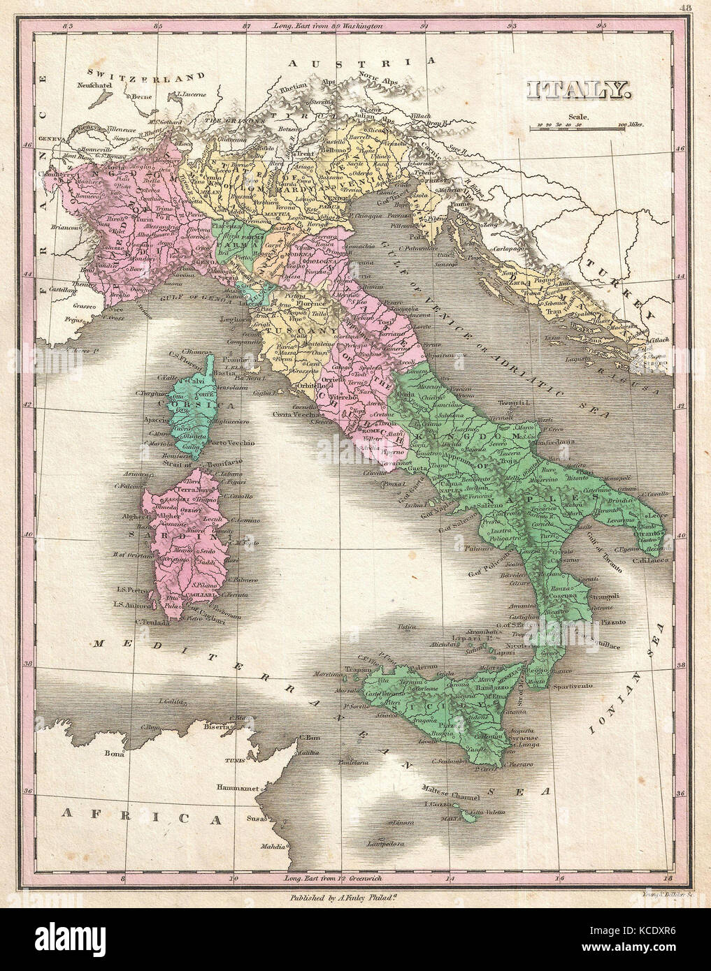 1827, Finley Map of Italy, Anthony Finley mapmaker of the United States in the 19th century - Stock Image