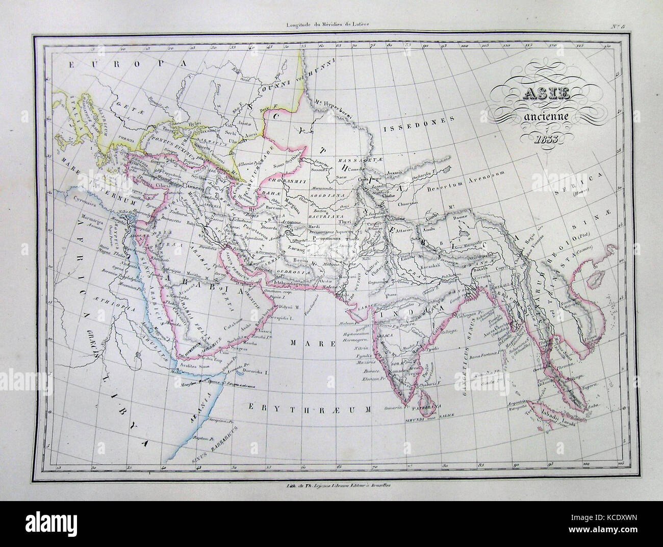 1833, Malte-Brun Map of Asia in Ancient Times - Stock Image