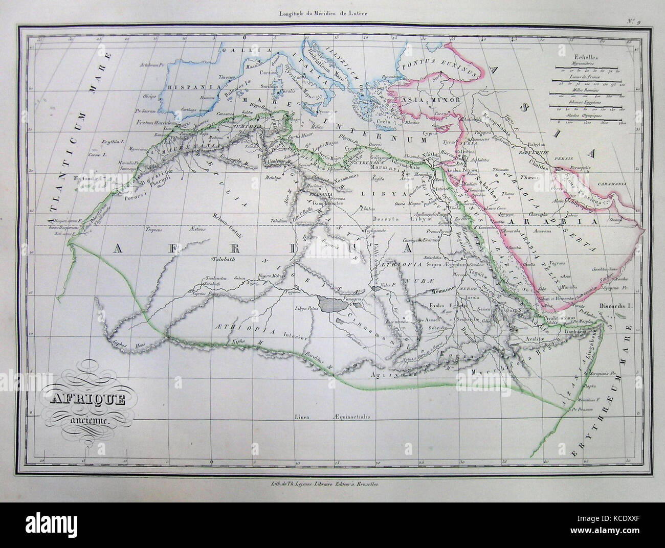 1837, Malte-Brun Map of Africa in Ancient Times - Stock Image