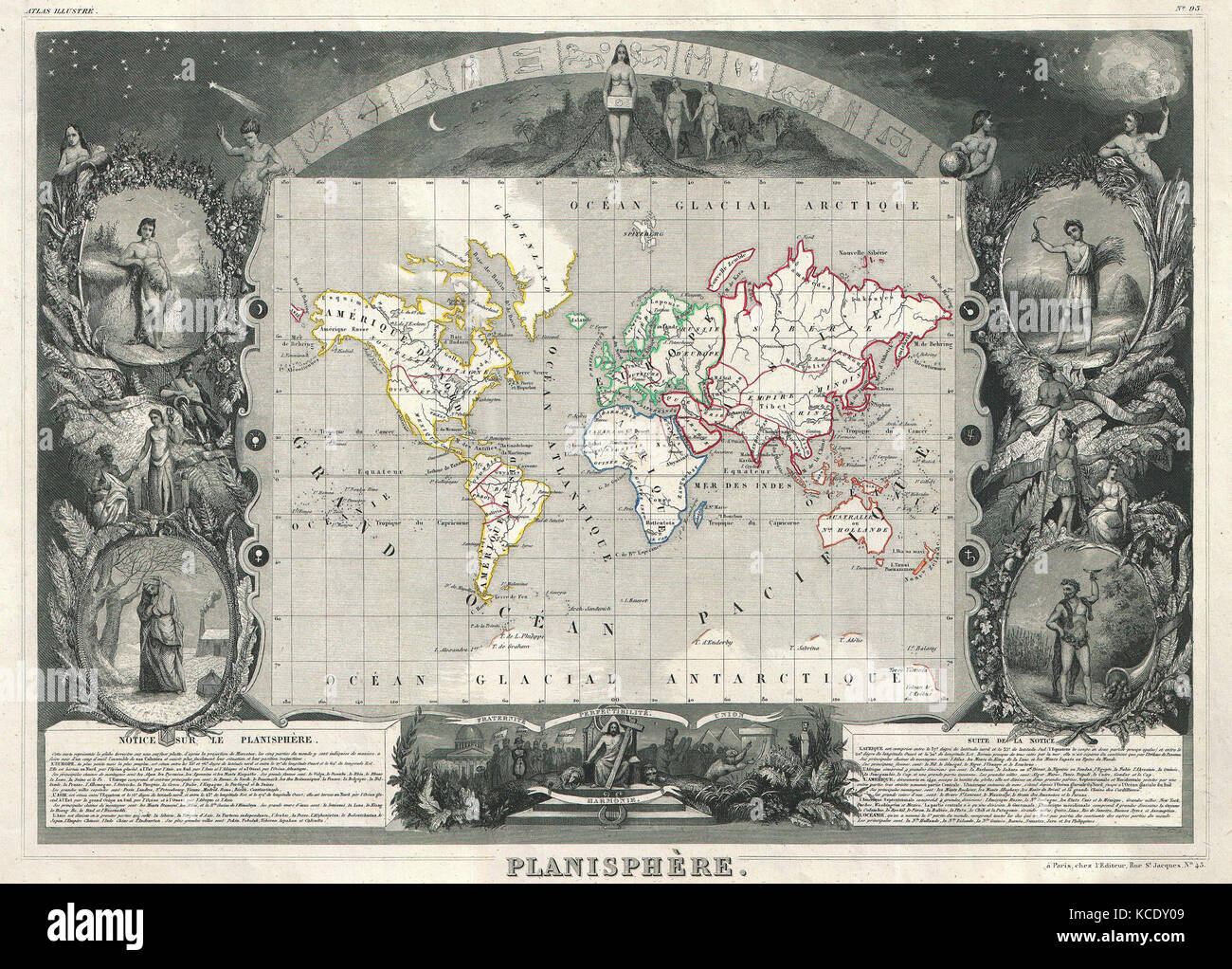 1847, Levasseur Map of the World Stock Photo