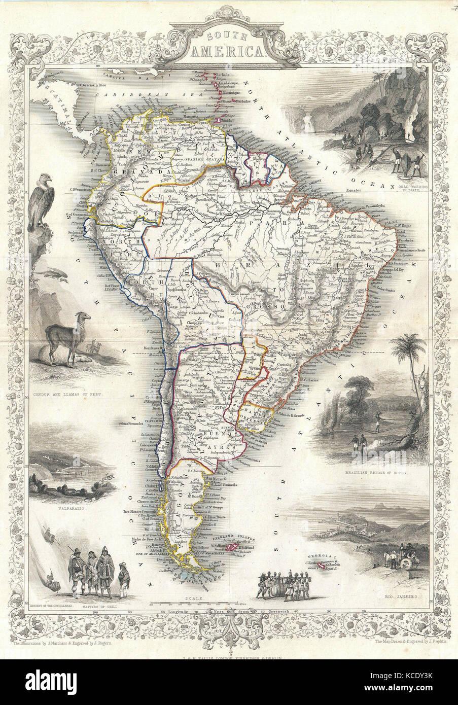 1850, Tallis Map of South America - Stock Image