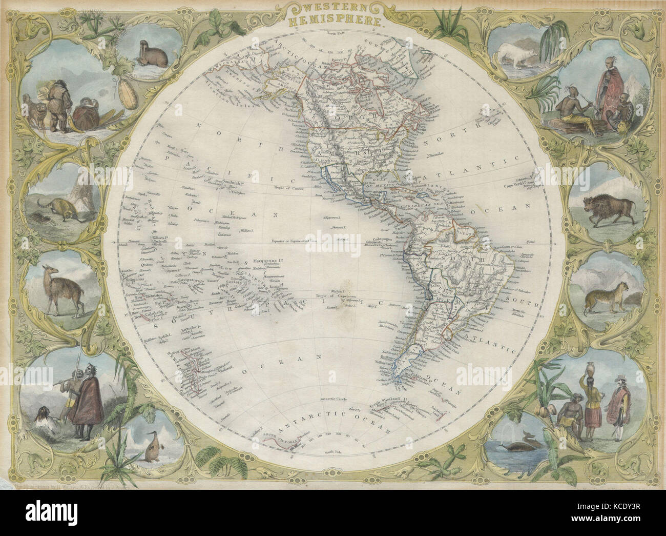 1850, Tallis Map of the Western Hemisphere - Stock Image