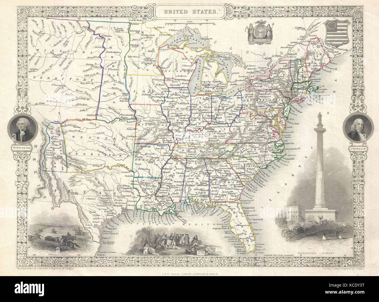 1851, Tallis and Rapkin Map of the United States - Stock Image