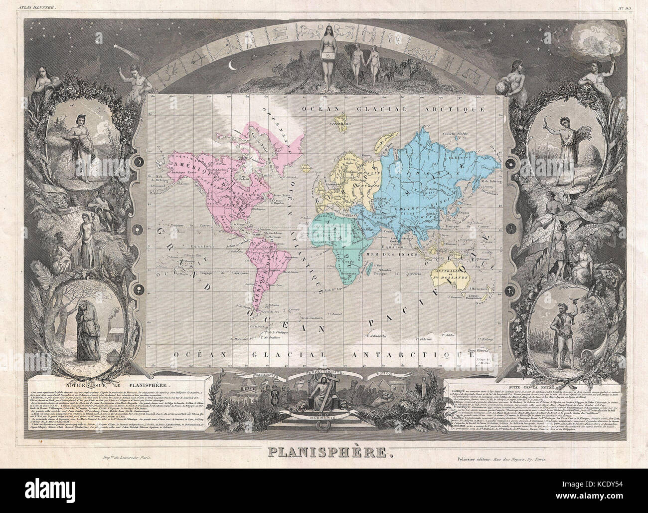 1852, Levasseur Map of the World Stock Photo