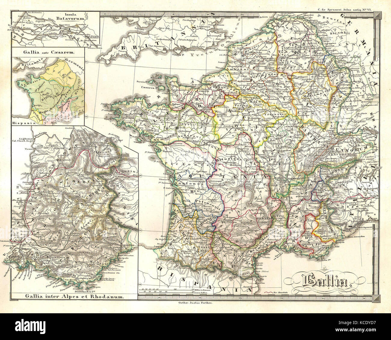 1855, Spruneri Map of France, Gaul, Gallia in Ancient Times - Stock Image