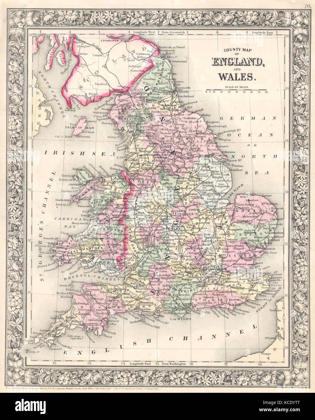 England longitude stock photos england longitude stock images alamy 1864 mitchell map of england and wales stock image gumiabroncs Gallery