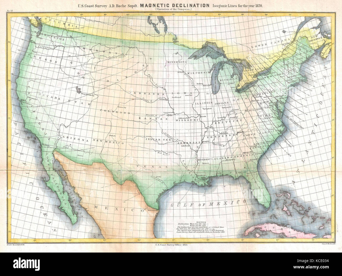 1870 US Coast Survey Map Showing Magnetic Declination in the
