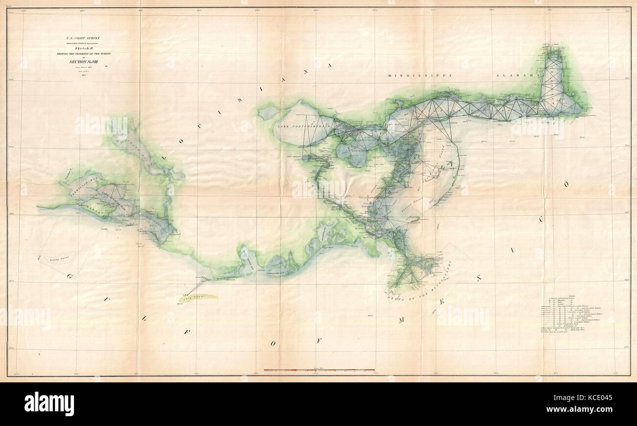 1873, U.S. Coast Survey Map of the Delta of the Mississippi River ...