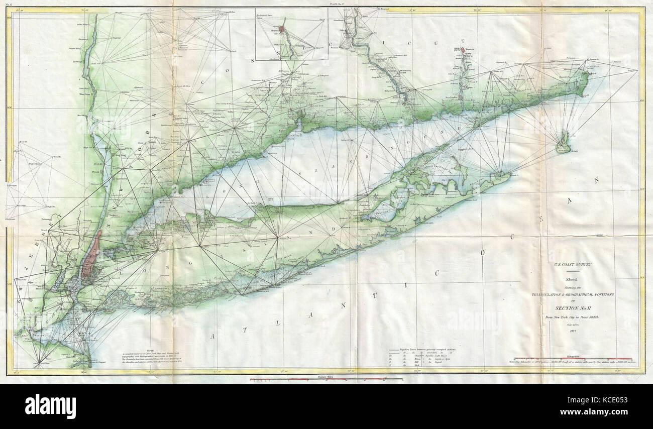 Map Of New York City And Long Island.1877 U S Coast Survey Map Of Long Island And New York City Stock
