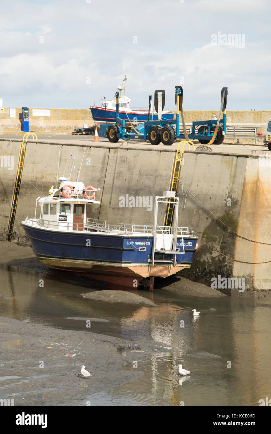 Low tide at Seahouse harbour, Northumberland, England - Stock Image