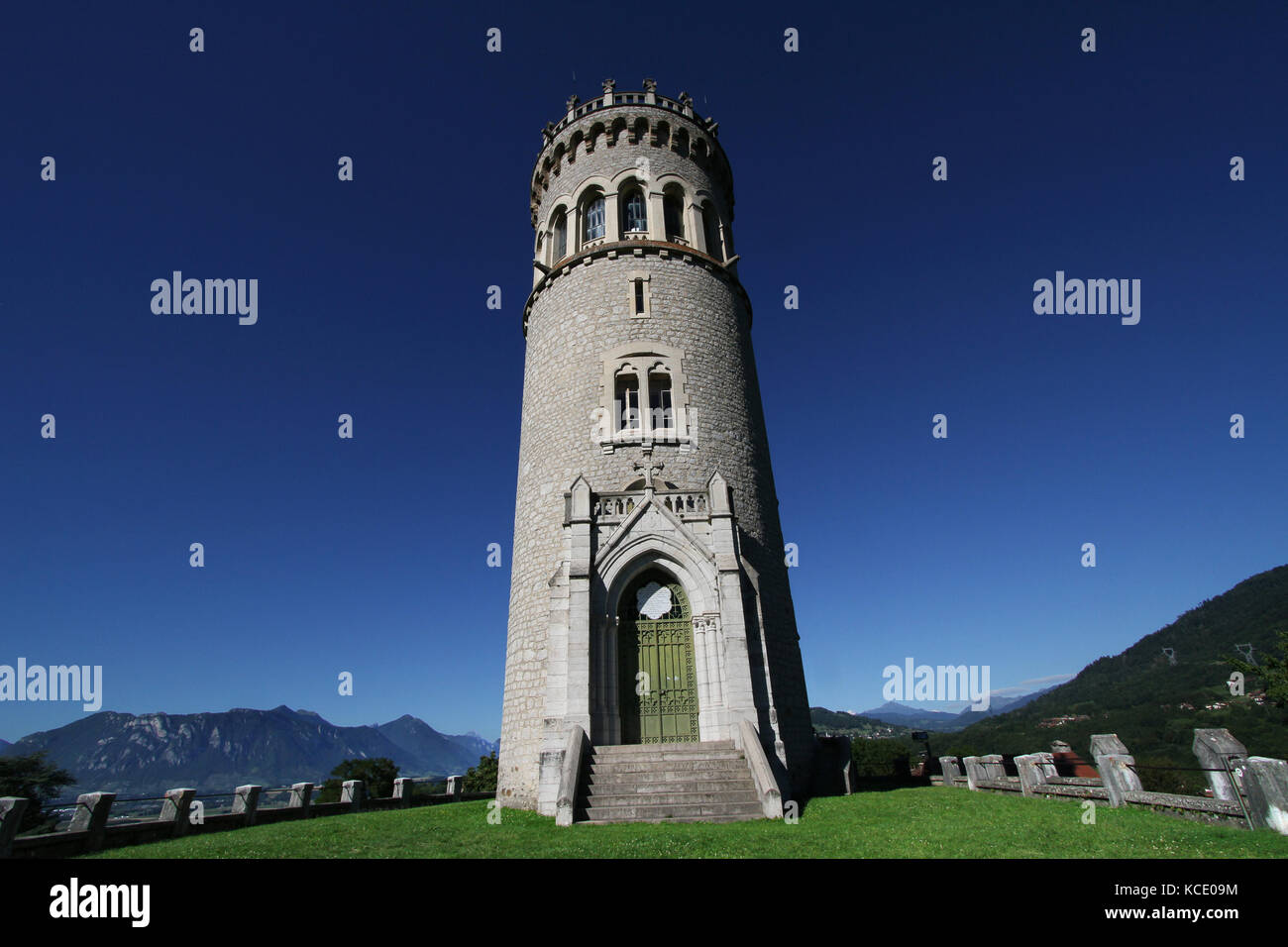 The Tower of Avalon is a french historic monuments since 1992. The tower is built on the ruins of the former medieval - Stock Image