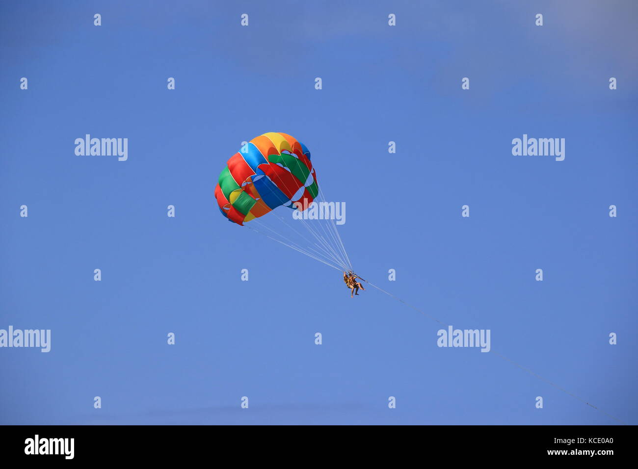 Colorful parasailing against a clear blue sky in landscape format with copy space - Stock Image