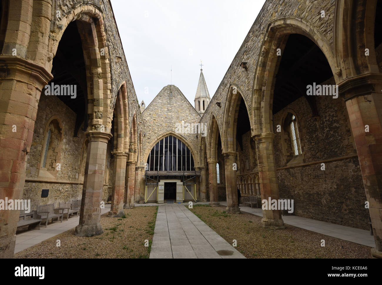 The Royal Garrison Church. The nave was damaged by a firebomb in 1941 but the chancel has been restored. Portsmouth, - Stock Image