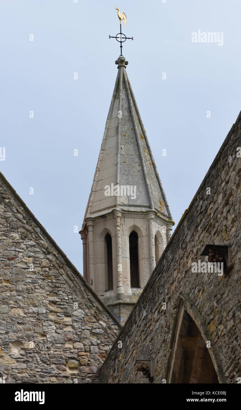 The spire of The Royal Garrison Church. The nave was damaged by a firebomb in 1941 but the chancel has been restored. - Stock Image