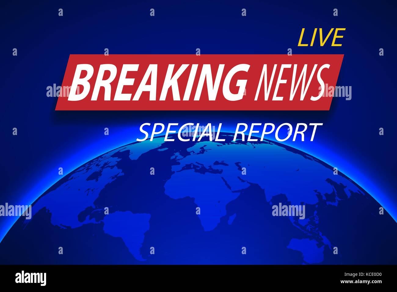 Breaking News Live On Planet Background Business Or Technology Concept With World Map TV Vector Illustration