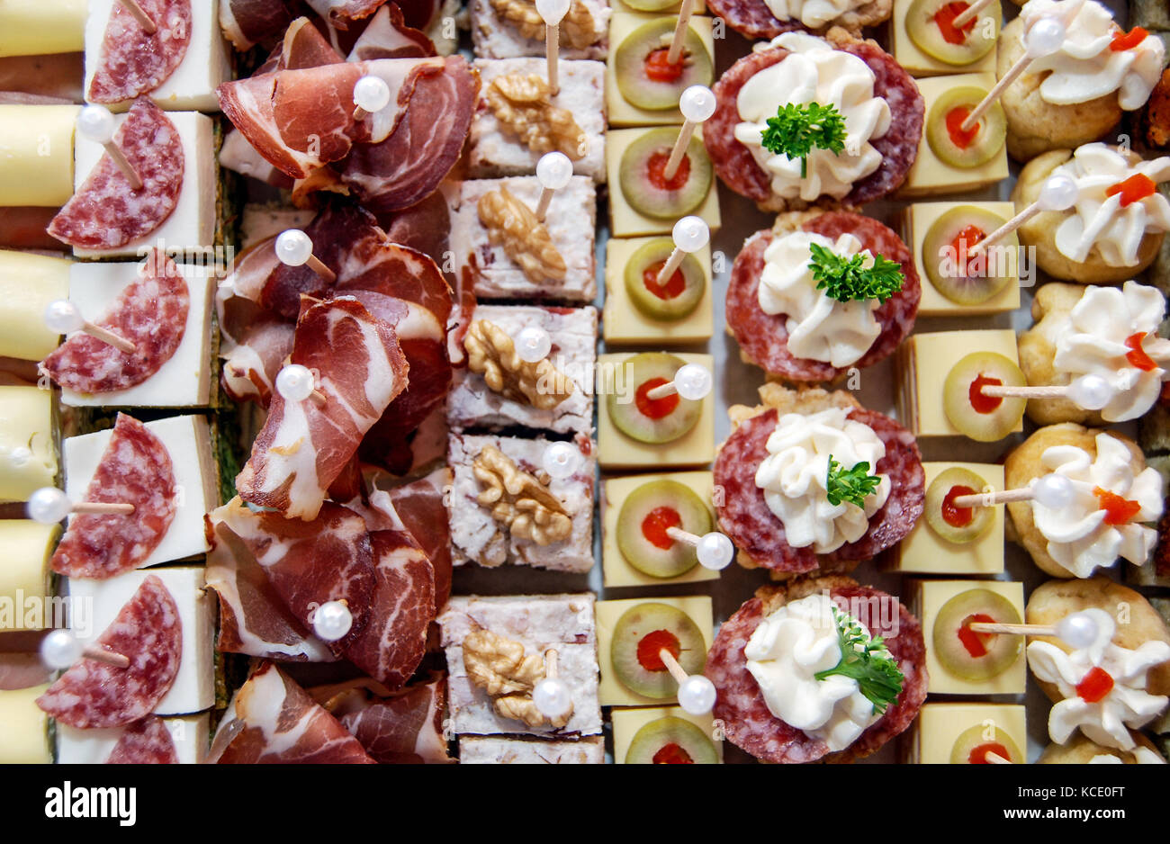 picture of a beutifill decorated canapes - Stock Image