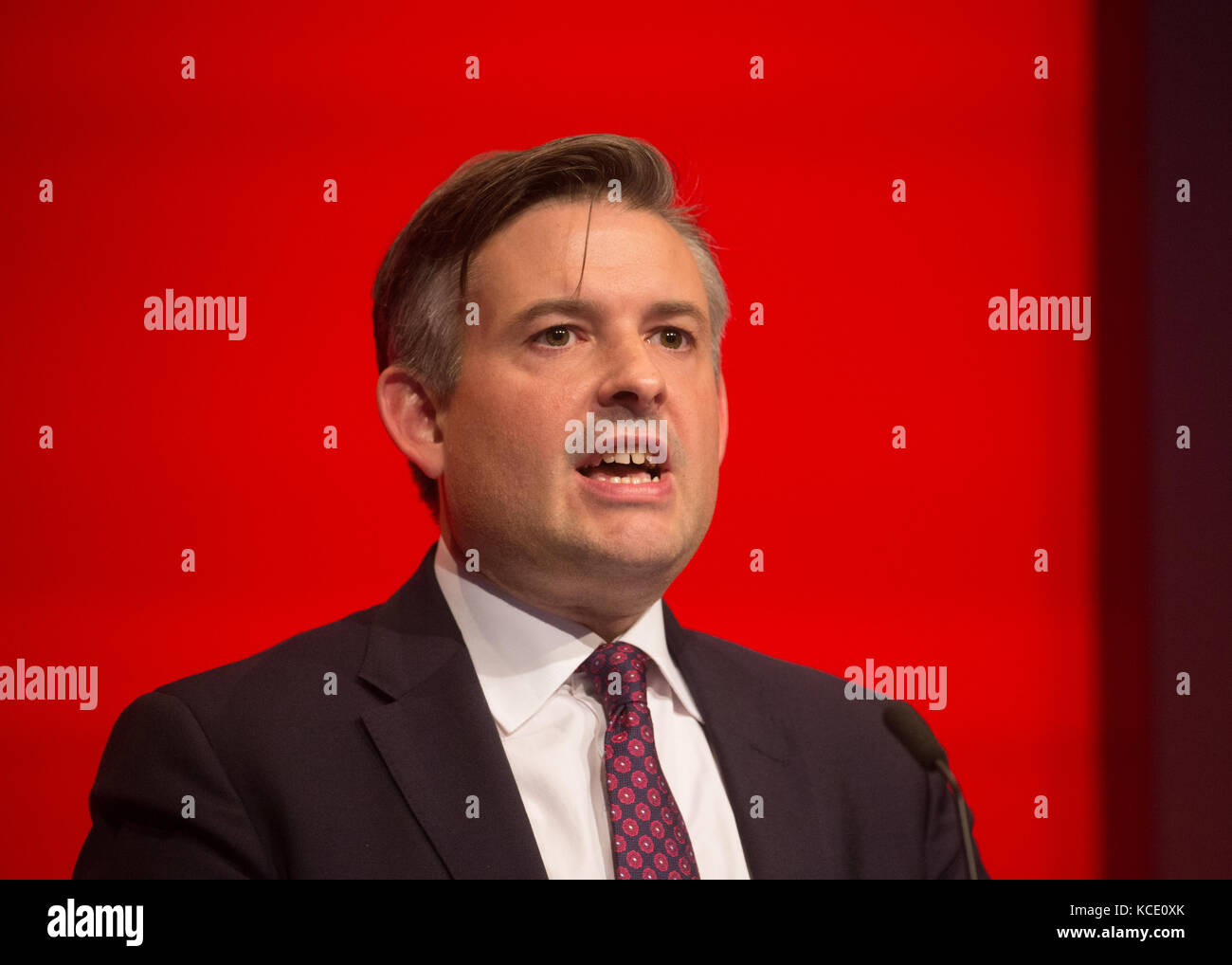 Jon Ashworth, Shadow Secretary of State for Health, gives his speech at the Labour Party Conference in Brighton - Stock Image