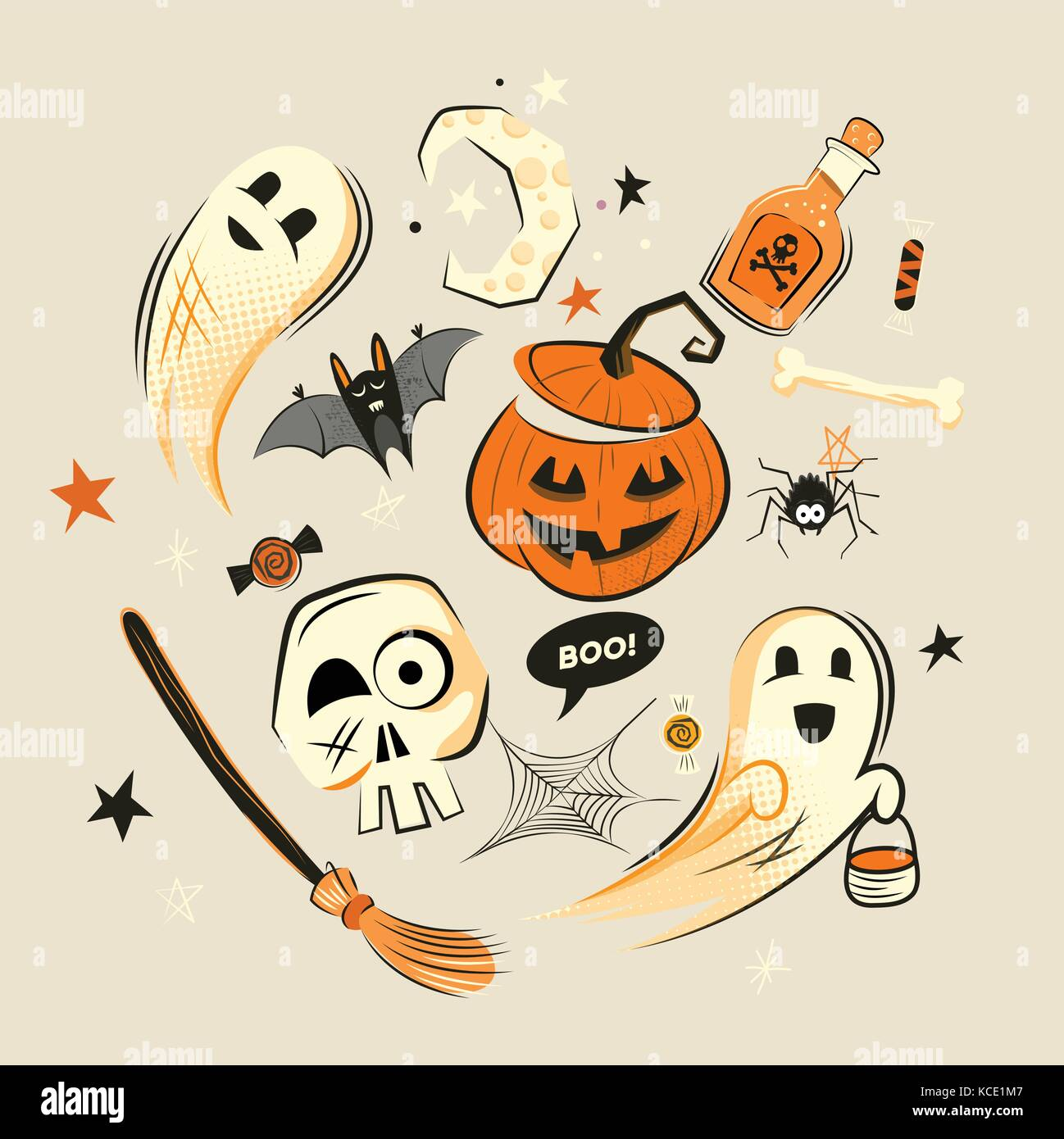 Halloween design vector decorations and characters. - Stock Image
