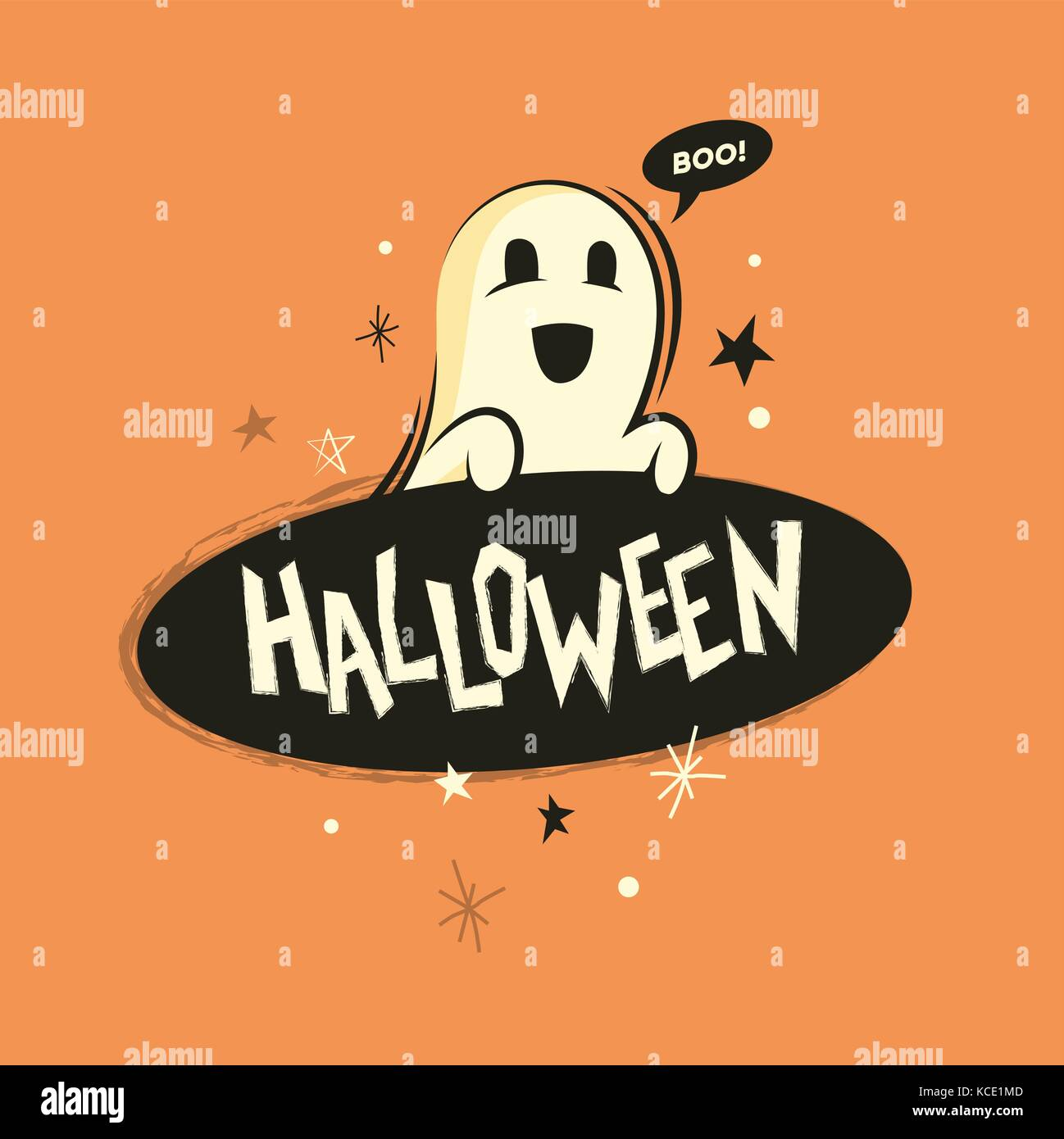 A happy halloween spooky ghost holding a sign. Vector illustration - Stock Image