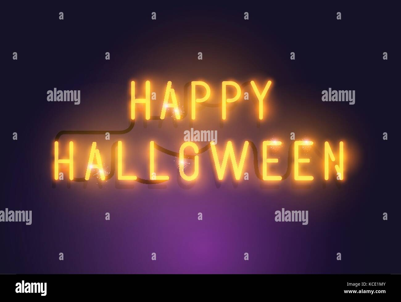 Glowing Neon Happy Halloween sign seasonal decoration. Vector illustration. - Stock Image