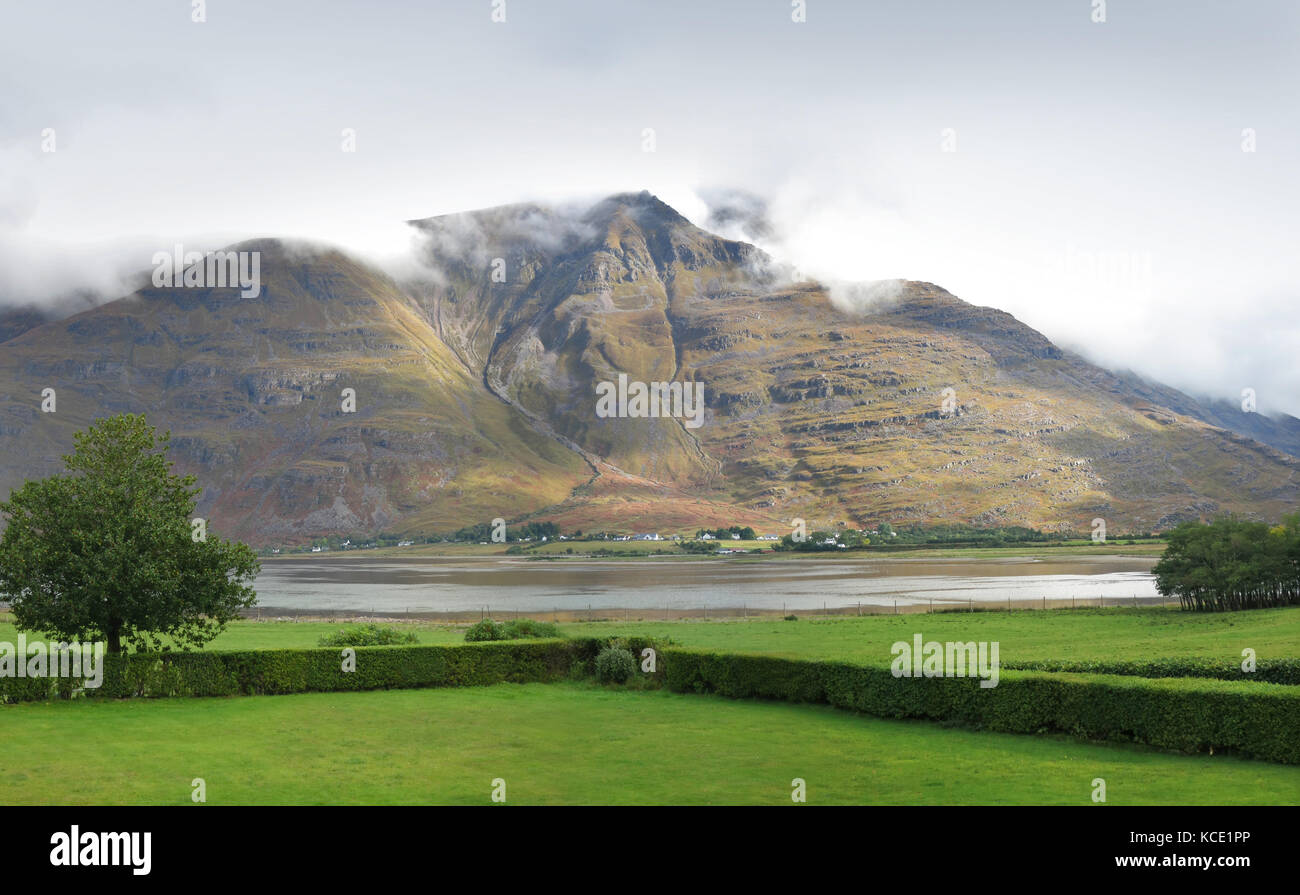 The village of Torridon in the western highlands of Scotland, UK. Viewed from the lawns of the Torridon Hotel. Shows - Stock Image