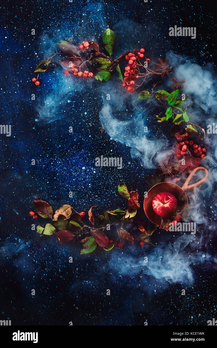 Autumn circle flat lay with apples and leaves on a dark starry sky background. - Stock Image