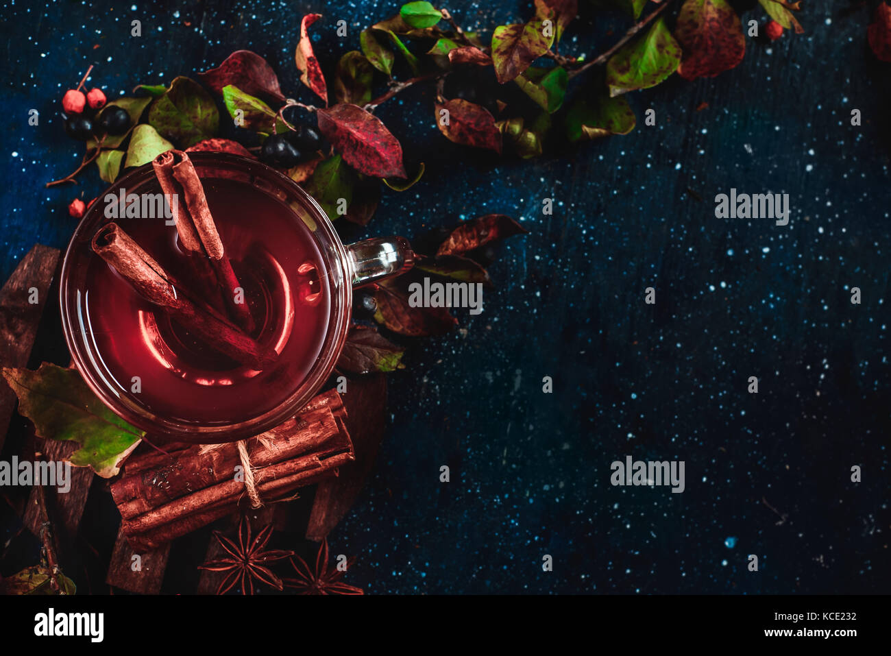 Tea cup with cinnamon on a dark background. Conceptual stylized food still life with autumn leaves and berries. - Stock Image
