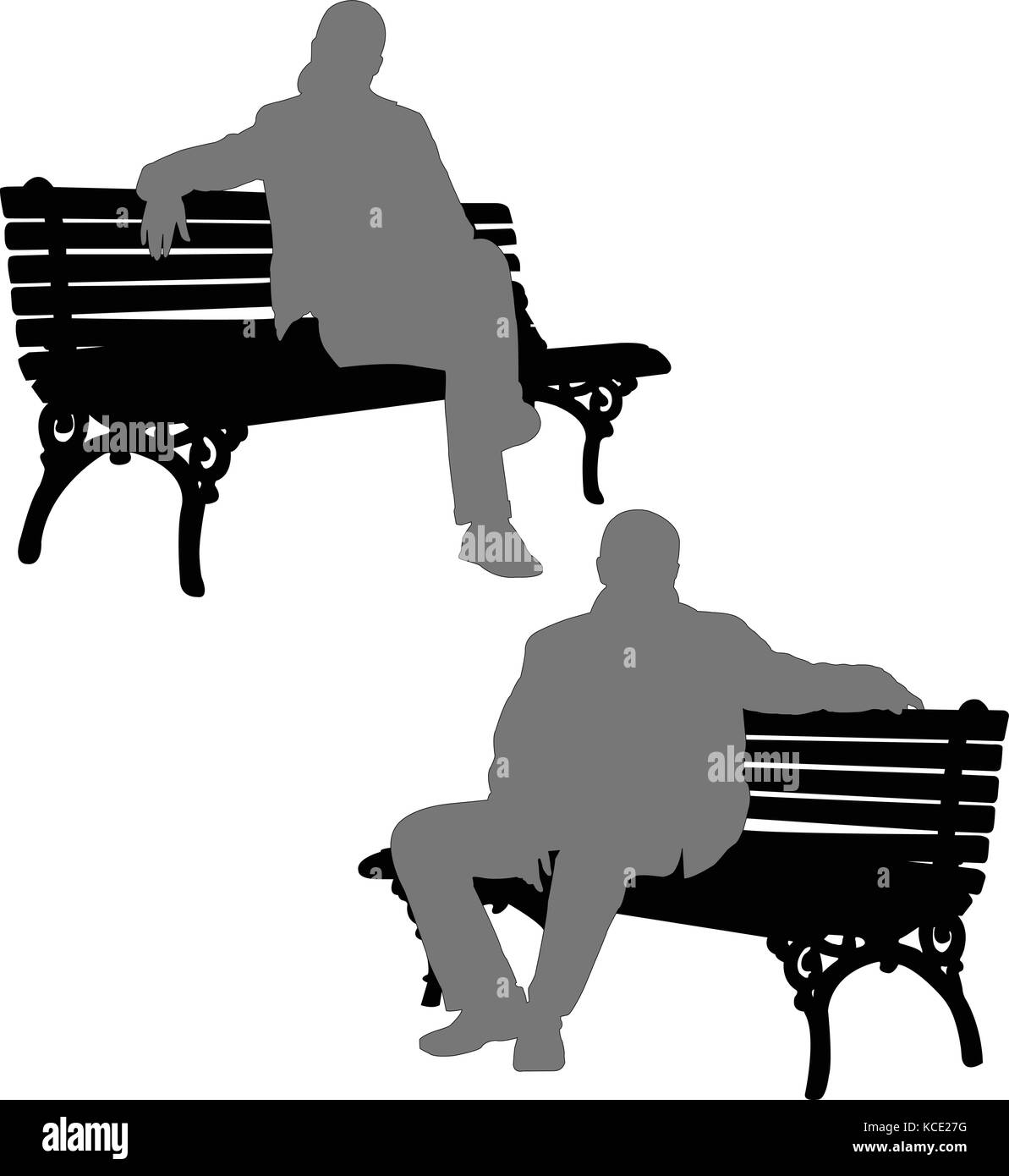 silhouettes of man and woman sitting on the park bench - vector - Stock Vector