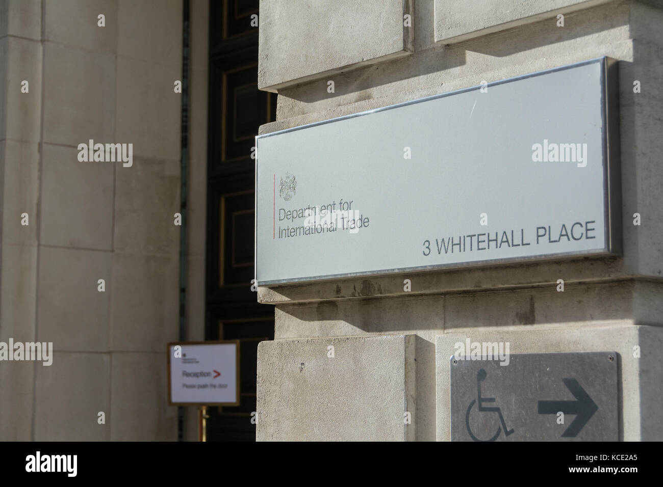 Entrance to the Department for International Trade, Whitehall, London, UK Stock Photo