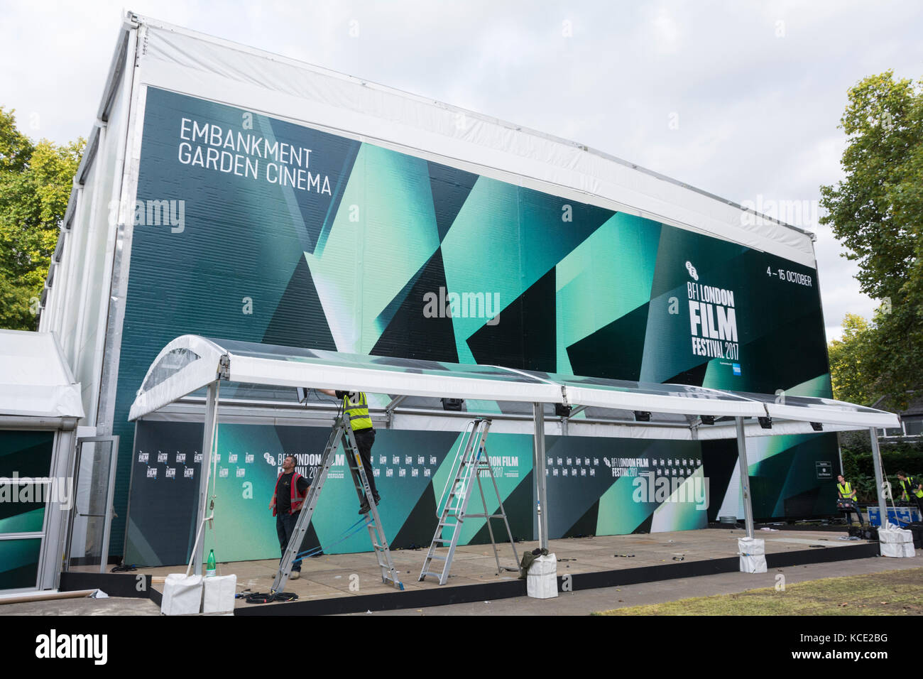 Embankment Garden pop-up Cinema, part of the London Film Festival 2017 - Stock Image
