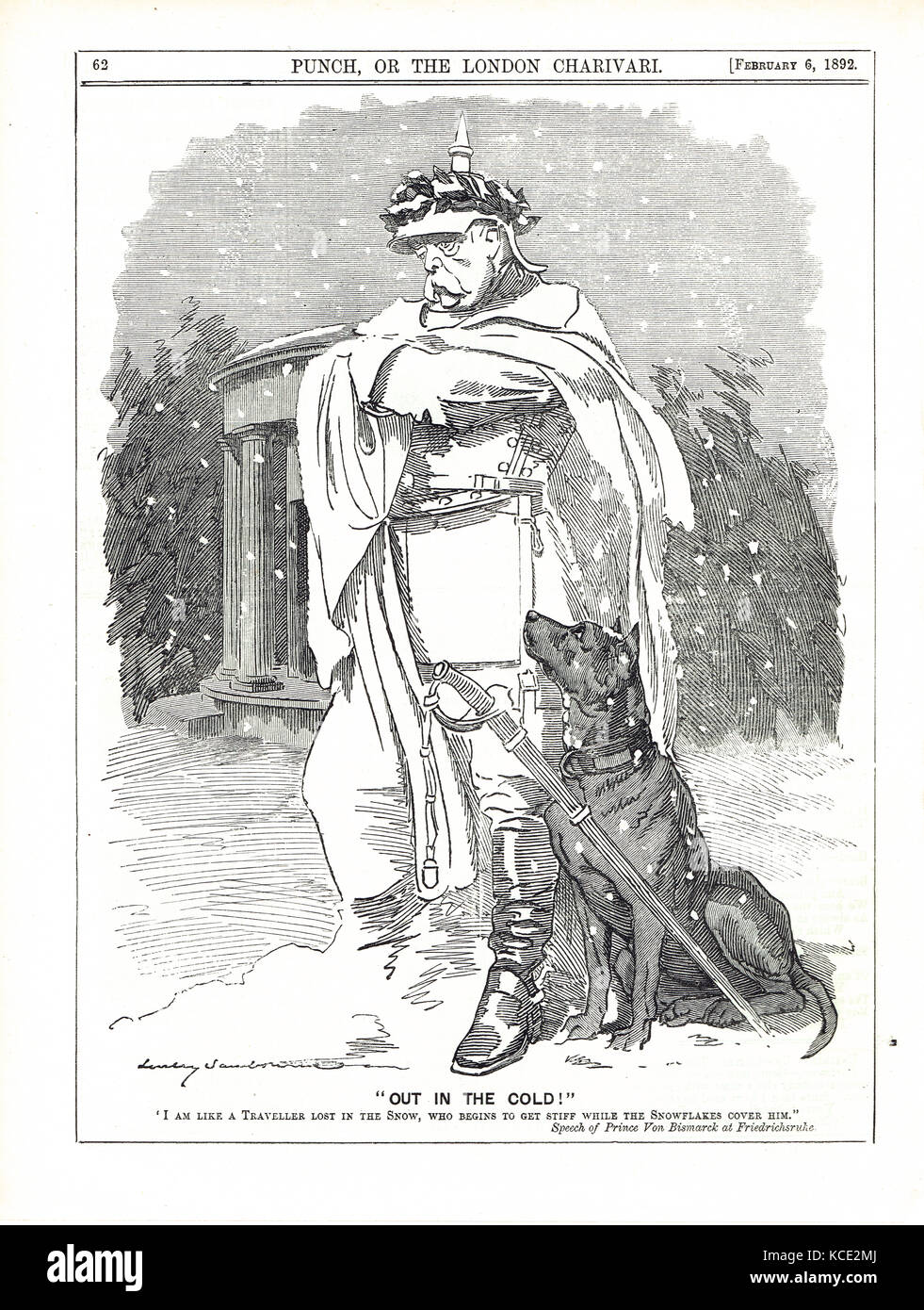 Otto von Bismarck out in the cold, 1892 - Stock Image