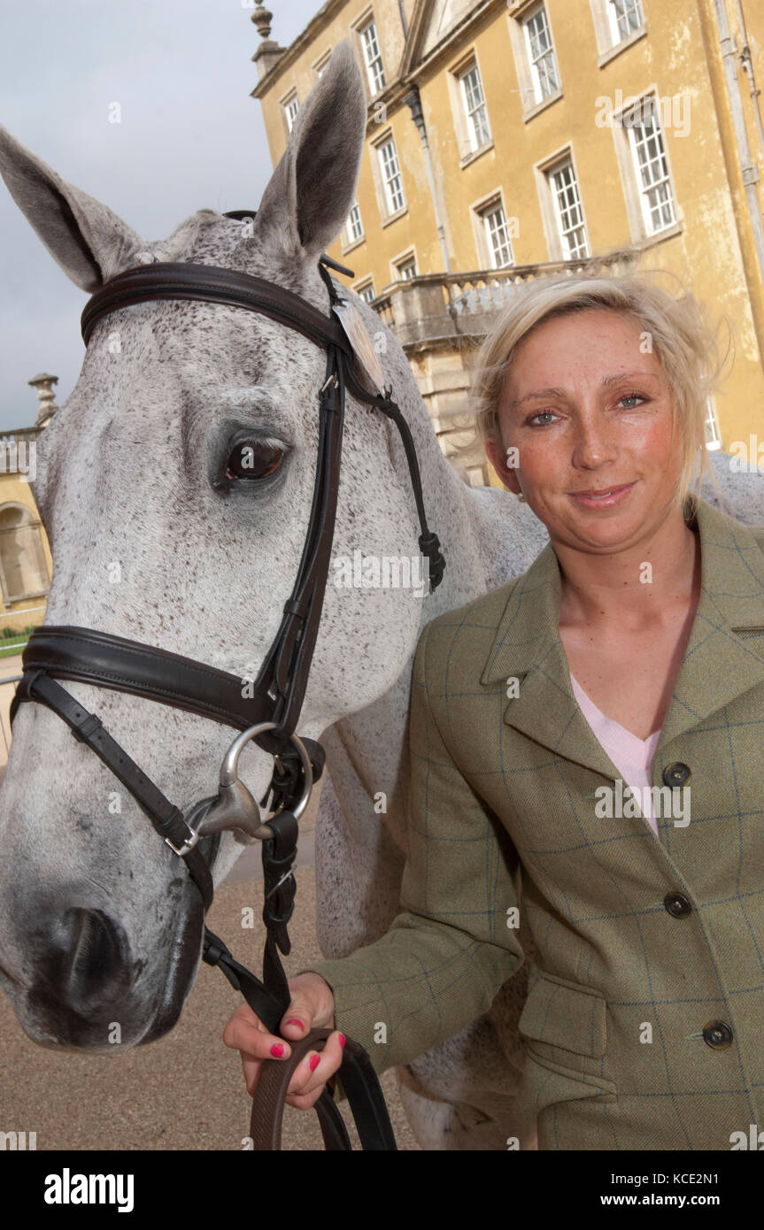 Phoebe Buckley, three day eventer, with her horse 'Frosty' at Badminton Horse Trials. - Stock Image