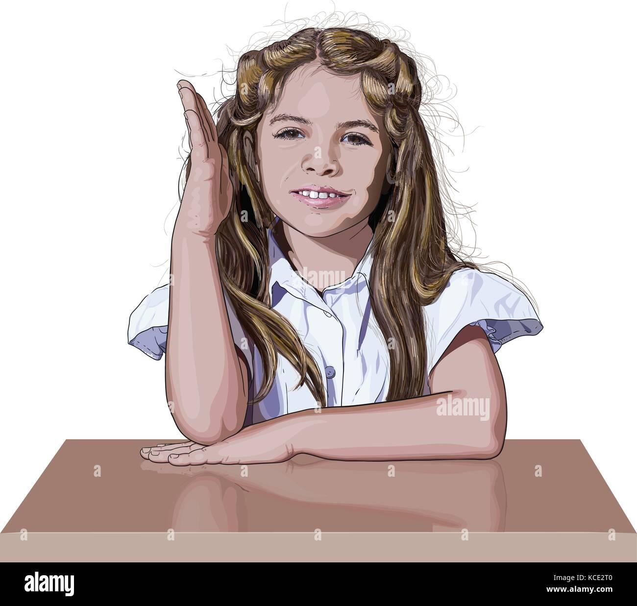 schoolgirl raising her hand - Stock Vector