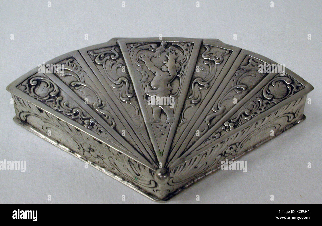 Box, late 19th century, German, Silver, L. 5 in. (12.7 cm), Metalwork-Silver - Stock Image