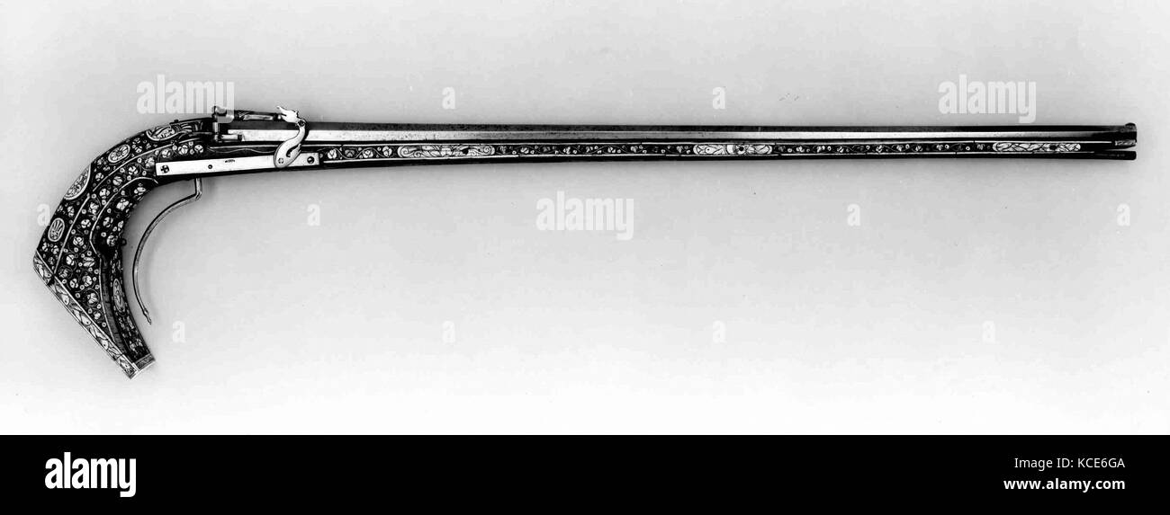 Matchlock Petronel, ca. 1570–80, French, Steel, wood, bone, L. 45 1/4 in. (114.9 cm); Cal. .51 in. (12.9 mm); Wt. - Stock Image