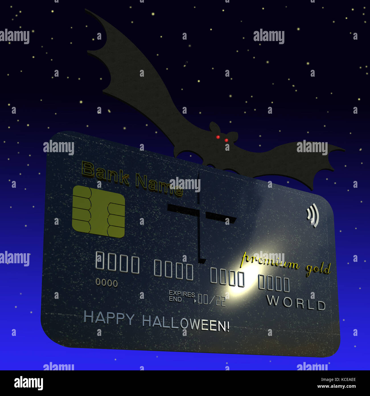 Polished Black Granite Texture With Happy Halloween Card 3d Illustration Black Polished Granite Texture As Tombstone Cross Flying Bat Starry Night Sky Background Collection
