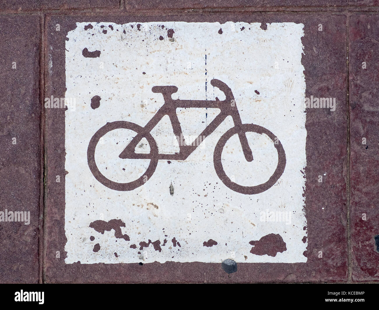 Bike Lane Path Pavement marking in Valencia Spain - Stock Image
