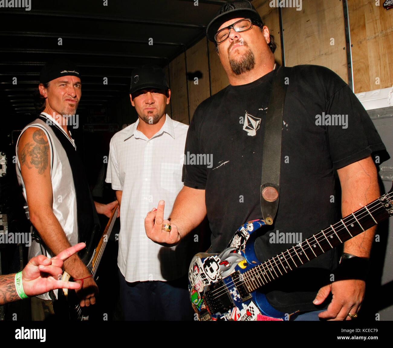 Randy Bradbury, Jim Lindberg, Fletcher Dragge of Pennywise portrait at the 2007 Vans Warped Tour at the Coors ampitheatre - Stock Image