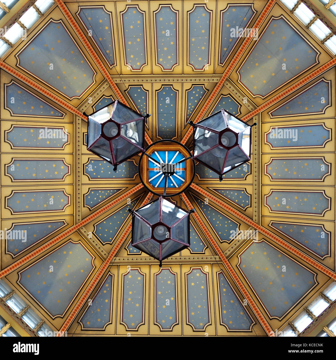 Close up of ornate roof structure at Leadenhall Market, Gracechurch Street, London. - Stock Image