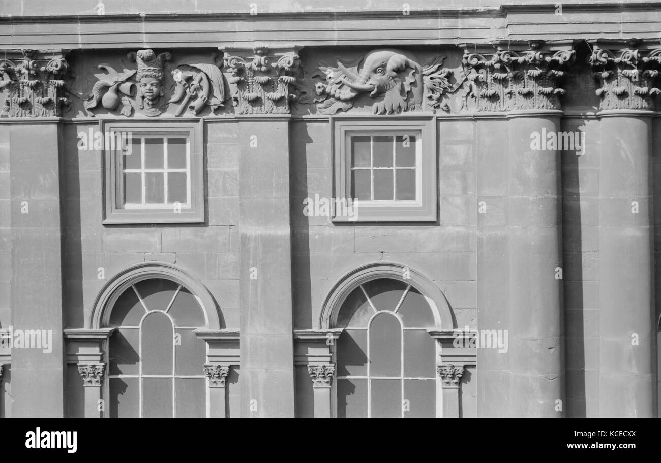 Liverpool Town Hall, Water Street, Liverpool. Detail view showing the upper floor, arched windows and a carved frieze - Stock Image
