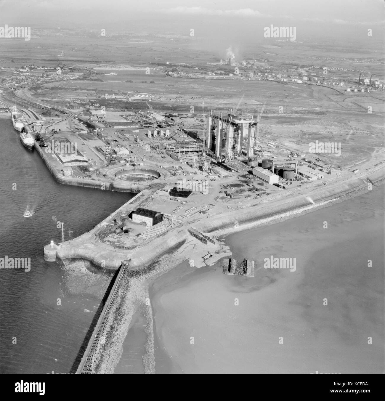 Heysham, Lancashire. Construction of a nuclear power station. Photographed in July 1964. Aerofilms Collection. - Stock Image