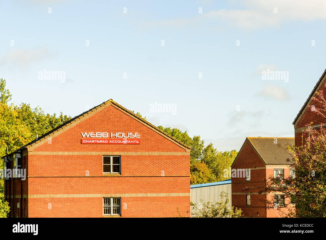 Northampton UK October 3, 2017: Webb House Chartered Accountants logo sign stand Northampton industrial estate - Stock Image