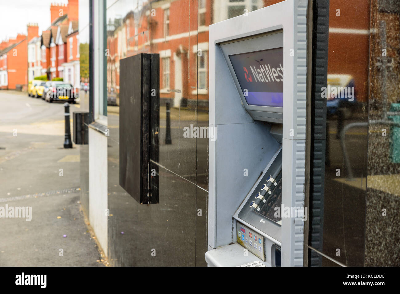 Northampton UK October 3, 2017: Natwest bank ATM closed down with wooden board Northampton - Stock Image